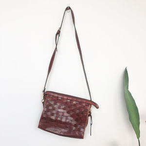 Vintage 1980s Diamicci Brown Woven Leather Bag